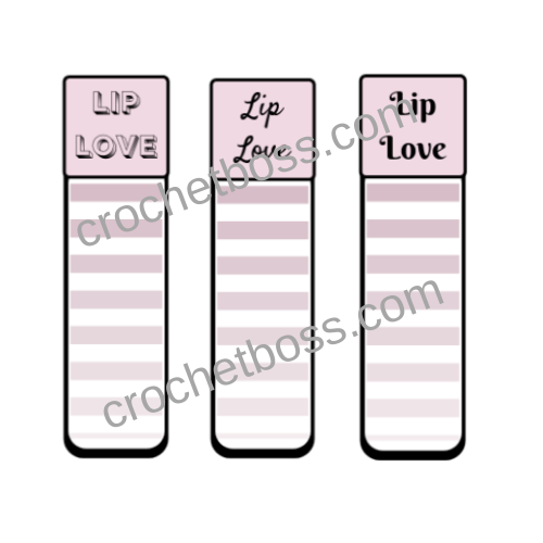 FREE crochet lip balm cozy printable display template.