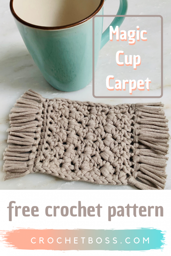 Free Crochet Pattern for Magic Cup Carpet. Create this Crochet Mug Rug with this free pattern! This Crochet Coaster is unique and looks like a hand tied rug!