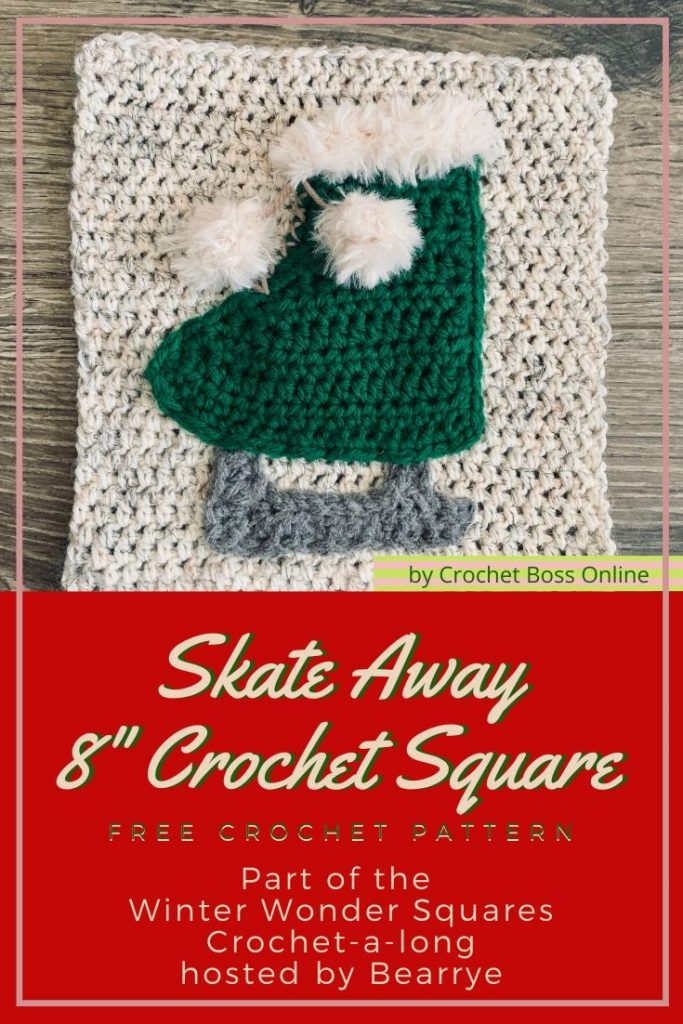 Winter Wonder Squares ice skate crochet pattern by Crochet Boss Online