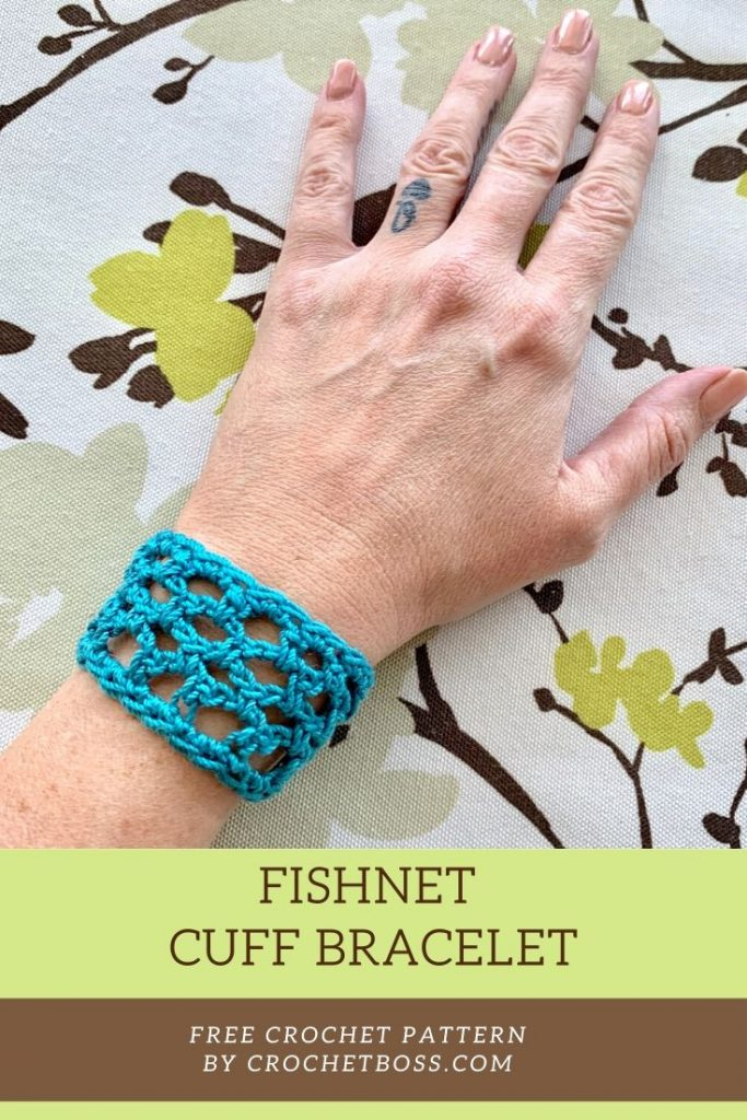 fishnet cuff bracelet free crochet pattern